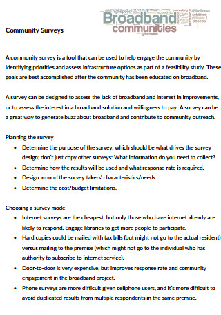 Broadband Community Surveys