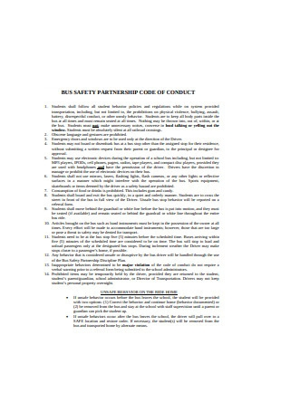 Bus Saftey Partnership Code of Contract