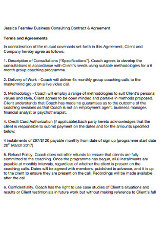 Business Consulting Contract Agreement