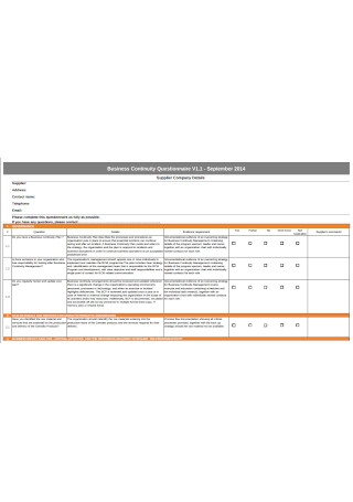 Business Continuity Questionnaire Sample