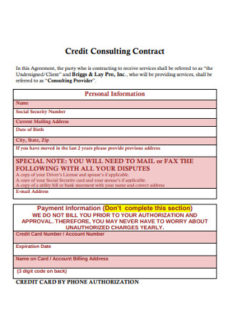 Business Credit Consulting Contract