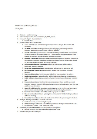 Business E Meeting Minutes