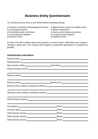 Business Entity Questionnaire