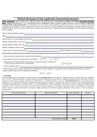 Business Financial Questionnaire
