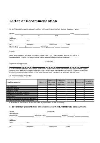 Business Graduate School Letter of Recommendation