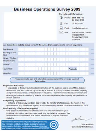 Business Operations Survey Questionnaire