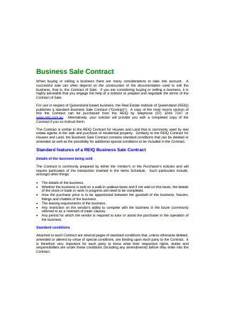 Business Sale Contract Sample