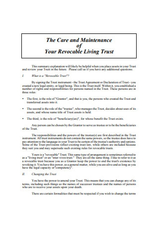 Care and Maintenance of Your Revocable Living Trust