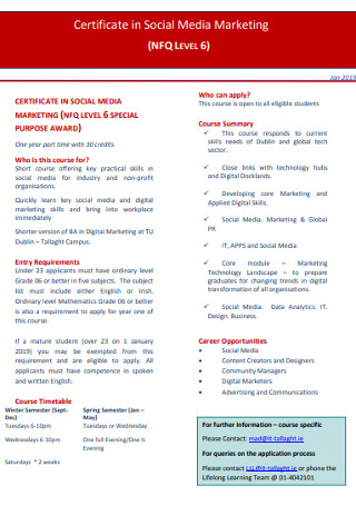 Certificate in Social Media Marketing
