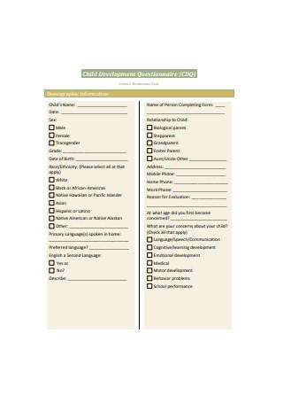 Child Development Questionnaire