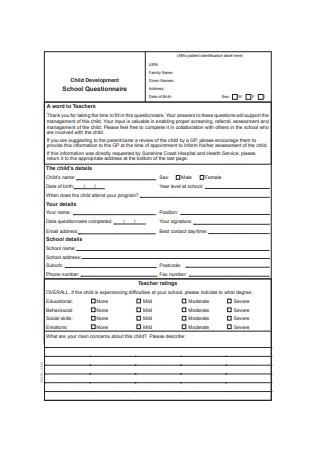 Child Development School Questionnaire