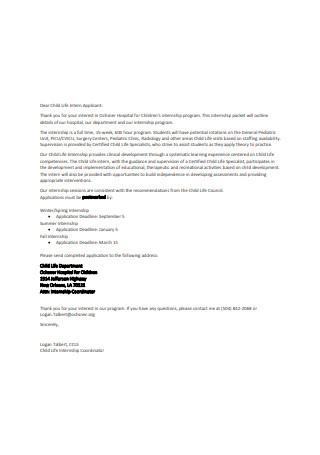 Child Life Internship Recommendation Letter