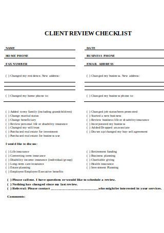 Client Review Checklist