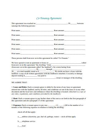 Co Tenancy Agreement1