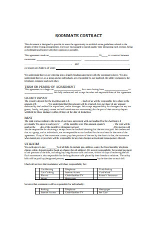 College Roommate Contract