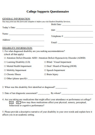 College Supports Questionnaire