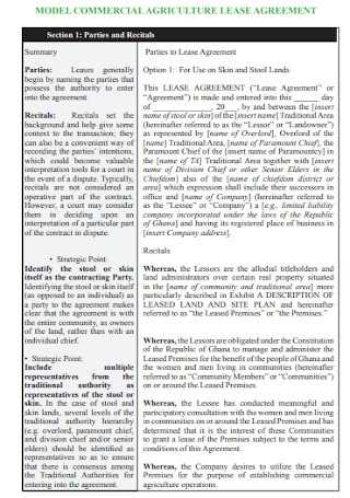 Commercial Agriculture Lease Agreement