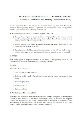 Commercial Real Property Lease Agreement