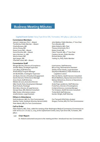 Commission Business Meeting Minutes