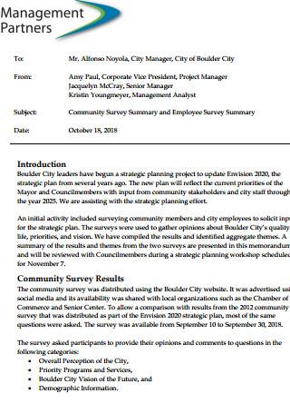 Community Survey Summary and Employee Survey Summary
