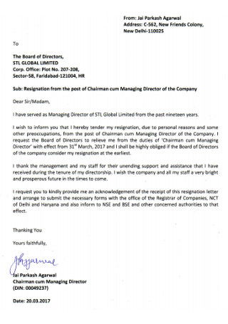 Company Board Director Registration Letter