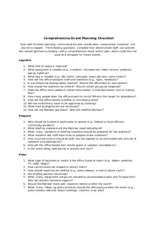 Comprehensive Event Planning Checklist
