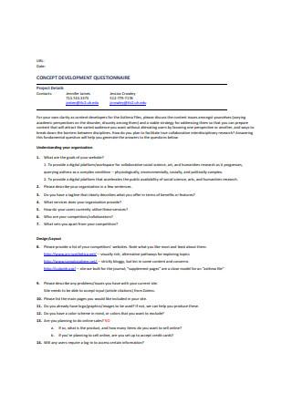 Concept Development Questionnaire