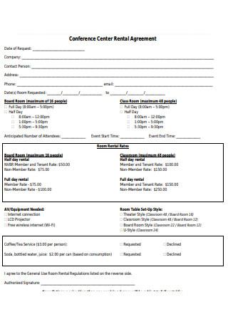 Conference Center Rental Agreement