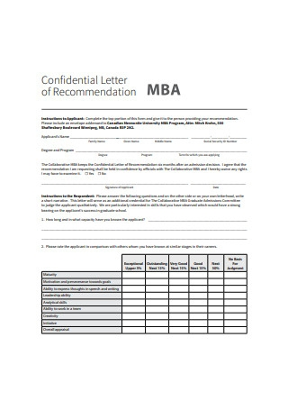 Confidential Letter of Recommendation for MBA