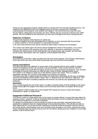 Confidential Property Survey Report