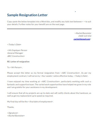 Construction Resignation Letter