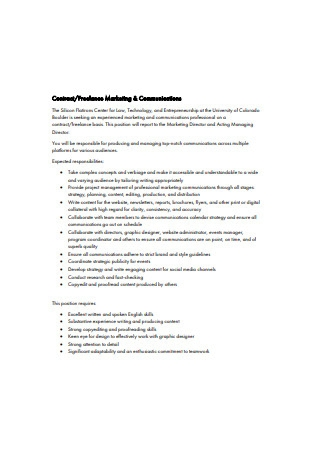 Contract Marketing and Communication Sample