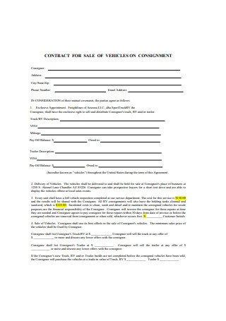 Contract for Sale of Vehicles on Consignment