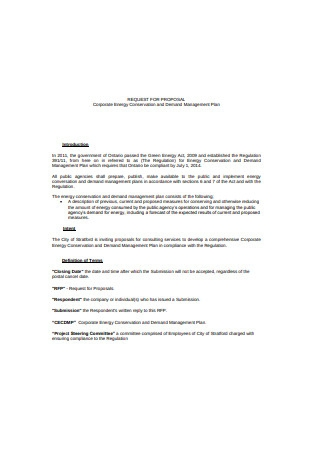 Corporate Energy Conservation and Demand Management Plan Proposal