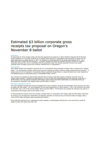 Corporate Gross Receipts Tax Proposal