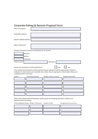 Corporate Kidnap and Ransom Proposal Form