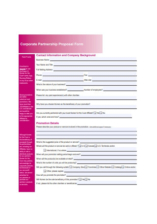 Corporate Partnership Proposal Form Example