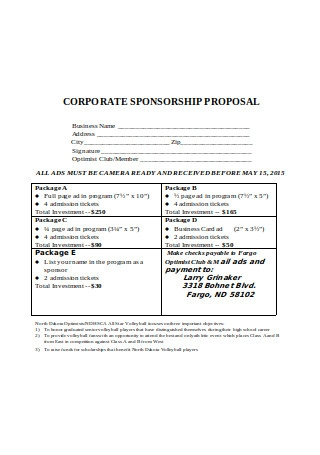 Corporate Sponsorship Proposal Example
