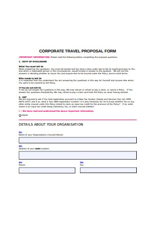 Corporate Travel Proposal Form