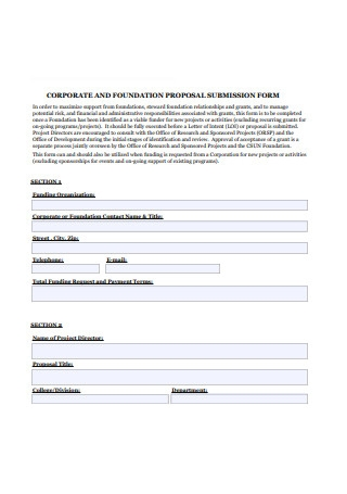 Corporate and Foundatioj Proposal Submission Form