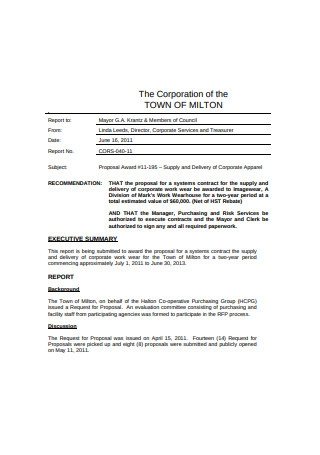 Corporation of the Town of Milton Proposal