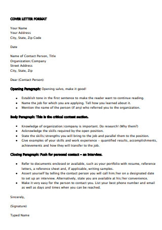 Cover Letter Formats