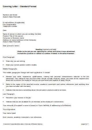 Covering Letter – Standard Format