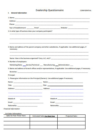 Dealership Questionnaire