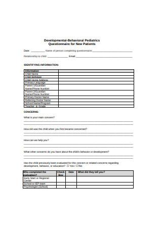 Developmental Behavioral Pediatrics Questionnaire for New Patients