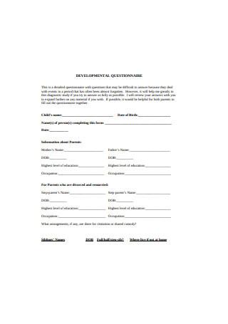 Developmental Questionnaire Example