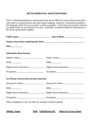 Developmental Questionnaire