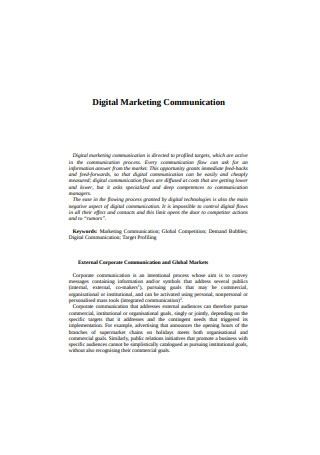 Digital Marketing Communication