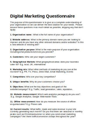 Digital Marketing Questionnaire