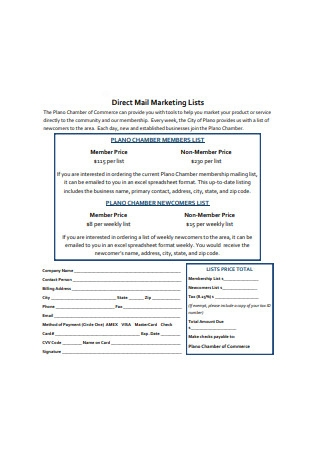 Direct Mail Marketing Lists